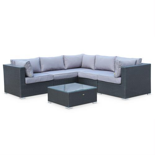Salon de jardin en résine tressée - Napoli - Noir Coussins Gris - 5 places - 2 fauteuils sans accoudoir 3 fauteuils d'angle une table basse