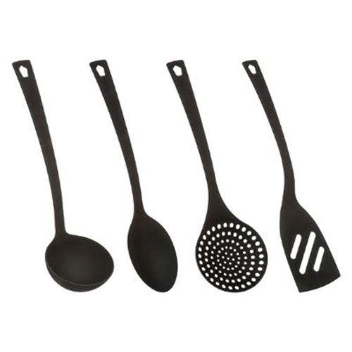 Lot de 4 Ustensiles de Cuisine Nylon 31cm Noir