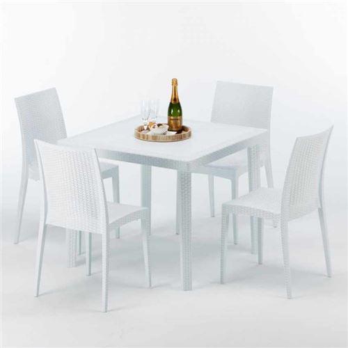 Table Carrée Blanche 90x90cm Avec 4 Chaises Colorées Grand Soleil Set Extérieur Bar Café BISTROT LOVE, Couleur: Blanc