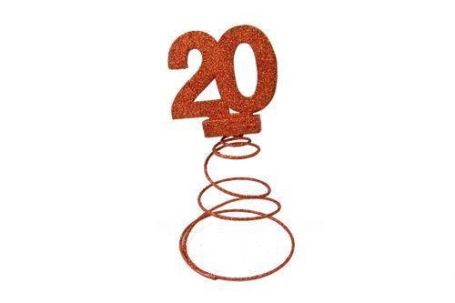 Lot de 10 Centres de table pour anniversaire 20 ans - Rouge pailletée