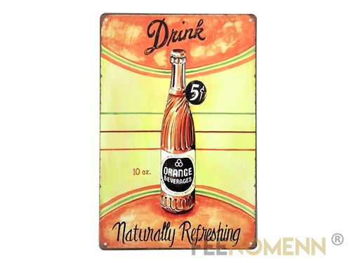 Plaque métal déco vintage - soda drink 5 cents (20x30cm)
