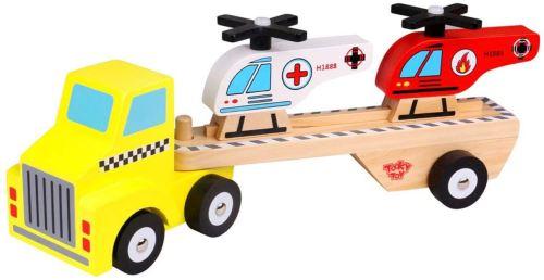 Tooky Toy hélicoptère de transport garçons 31 cm bois 4-pièces