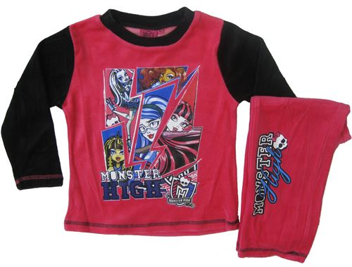 Monster High pyjama polaire fille rouge/noir