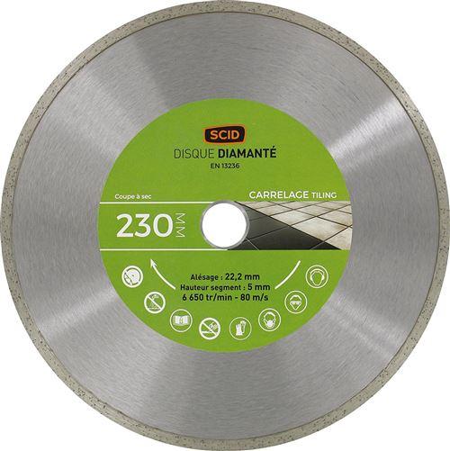 Disque diamanté carreleur bricolage SCID - Diamètre 230 mm