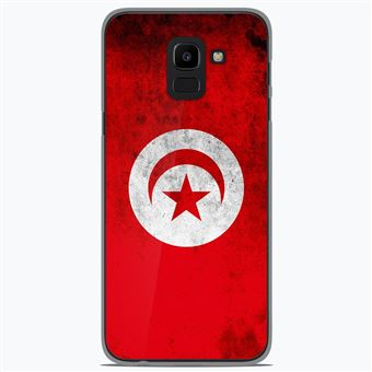 Coque Silicone Gel Samsung Galaxy J6 2018 Motif Drapeau Tunisie