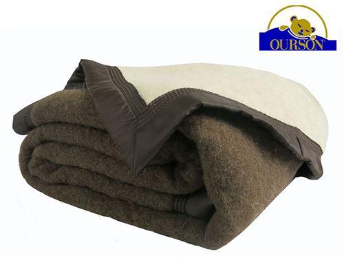 Couverture pure laine woolmark ourson 600 gr chocolat 240x260