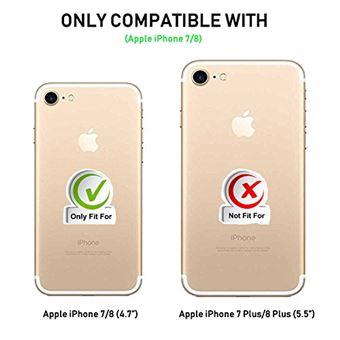 Coque iPhone 7, Coque iPhone 8, Supad Etui à rabat protecteur en cuir véritable pour iPhone 7/8 4,7 (Noir)
