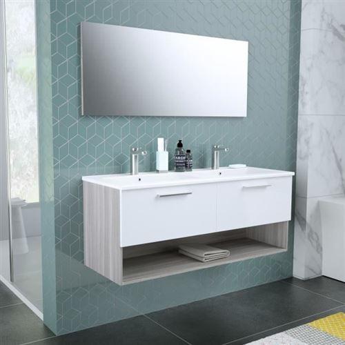 Bento Salle De Bain Double Vasque + Miroir L 120 Cm - 2 Tiroirs A Fermeture Ralenties - Blanc
