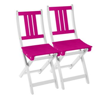 Lot de 2 chaises pliantes de jardin en bois FSC, peinture ...