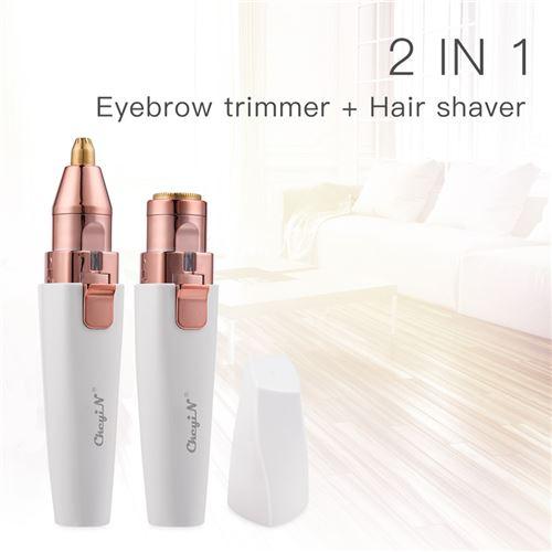 2 en 1 tondeuse à sourcils électrique 3d rasoir pour corps en taille de stylo+1 pochoir à sourcils en acier inox