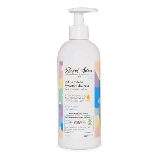 Lait de toilette hydratant douceur pour bébé, au savon de marseille et à l'huile d'olive bio, flacon pompe 500ml, label SAFELIFE