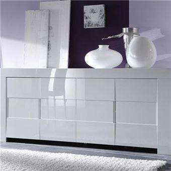 Buffet salle à manger design blanc laqué LIMA - L 210 x P 50 x H 84 cm
