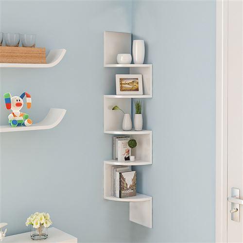 Étagère d'angle design contemporain zig zag 5 niveaux 20×20×120H cm Couleur Blanc