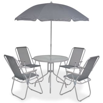Salon de Jardin Textilène 1 Table et 4 Chaise Pliable et 1 Parasol Gris
