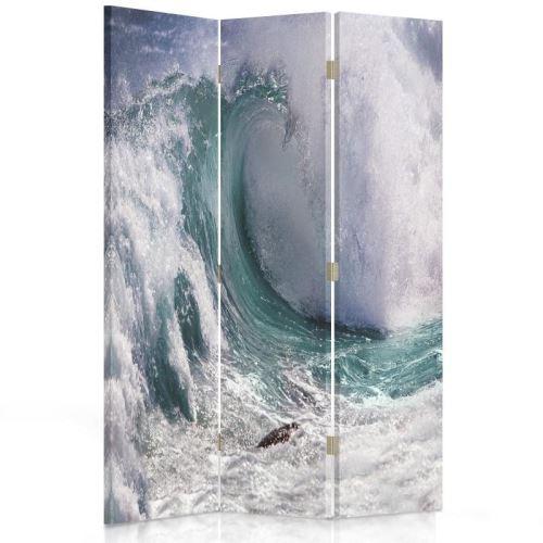 Feeby Diviseur de pièce rotatif déco Paravent toile 3 parties, Haute vague 110x150 cm