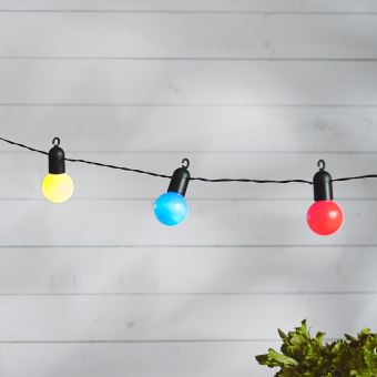 guirlande lumineuse guinguette avec 20 boules led multicolores pour int rieur ext rieur. Black Bedroom Furniture Sets. Home Design Ideas