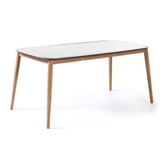 Table en teck et Duranite® blanc 213 x 100 cm Kimito