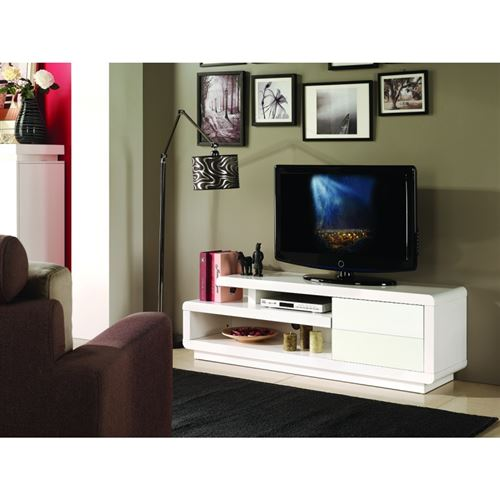 Meuble TV BINCHE 142 cm à 2 tiroirs et 2 niches coloris blanc.