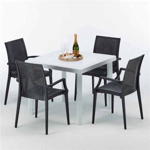 Table Carrée Blanche 90x90cm Avec 4 Chaises Colorées Grand Soleil Set Extérieur Bar Café ARM BISTROT LOVE, Couleur: Noir
