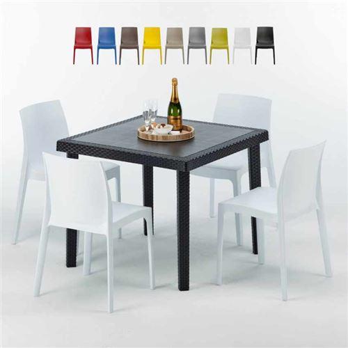 Table Carrée Noire 90x90cm Avec 4 Chaises Colorées Grand Soleil Set Extérieur Bar Café Rome Passion, Couleur: Blanc