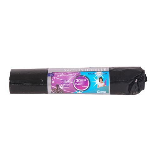 20 Sacs poubelle - 30 L - Noir