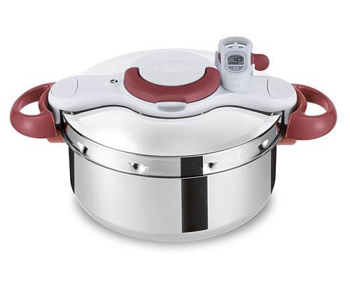 Tafal Clipso Minut Perfect Autocuiseur en acier inox avec 5 systèmes de sécurité et fermeture facile à une main, rouge, Acier inoxydable, edelstahl/weiß/rot, 37.4 x 28.5 x 24.6 cm
