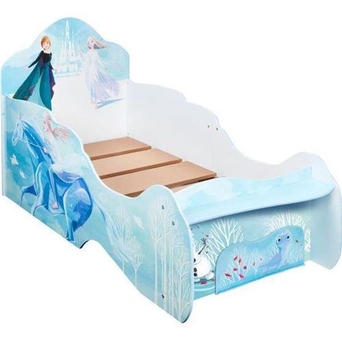 Lit enfant en forme de traîneau Disney La Reine des Neiges avec rangement en pied du lit