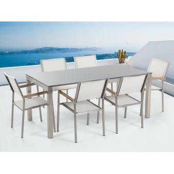Beliani - Table de jardin acier inox - plateau simple en granit gris poli  180 cm avec 6 chaises en textile blanc - Grosseto