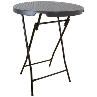 Table de bar pliante poly-rotin, table haute, table mange-debout