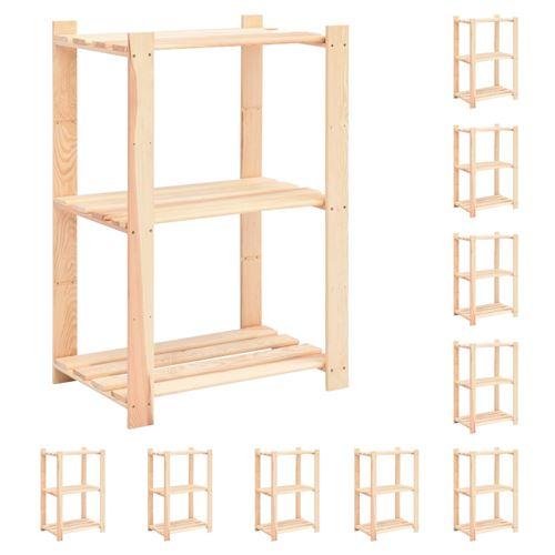 Étagères de rangement à 3 niveaux 10 pcs 60x38x90 cm Pin 150 kg