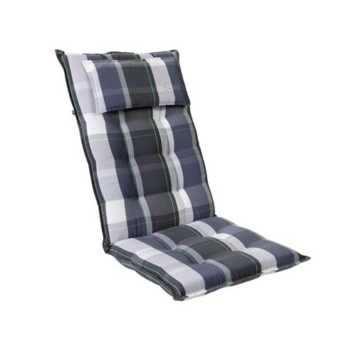 Coussin de chaise de jardin -Blumfeldt Sylt -120 x 50 x9 cm -1 pièce -Carreaux Bleu