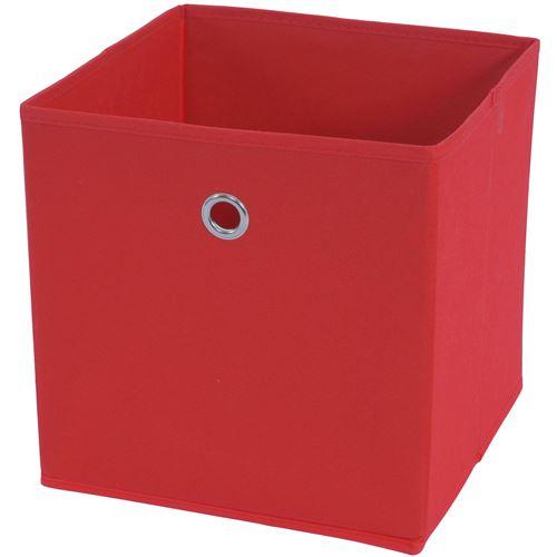 4x box pliable T362, box de rangement, tissu 28x28x28cm ~ rouge