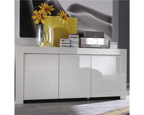 Bahut design blanc laqué TRIPOLI - 160 cm
