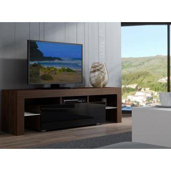 Meuble Tv Spider A Led En Noyer Mat Avec Porte Noir Laque 160 Cm
