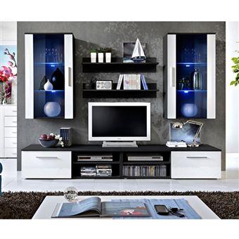 Ensemble Meuble Tv Mural Design Galino Vii Black Blanc