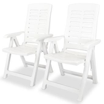 2 pcs Chaise Longue Inclinable de Jardin 60x61x108 cm Plastique
