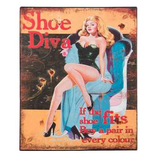 Plaque métallique Pin-up série Divas - Chaussures