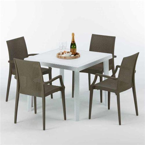 Table Carrée Blanche 90x90cm Avec 4 Chaises Colorées Grand Soleil Set Extérieur Bar Café ARM BISTROT LOVE, Couleur: Marron