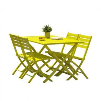 Kit MARIUS en aluminium table pliante 140x80 cm + 4 chaises pliantes DCB  Couleur Jaune Jaune