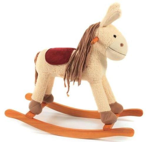 Ane a bascule avec sons - 75 x 33 x 77 cm (lxlxh) - hauteur selle : 46 cm - animal - cheval - peluche - jouet 1er age bebe