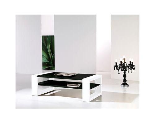 Table basse noir et blanc laqué design CINZIA-L 110 x P 60 x H 36 cm
