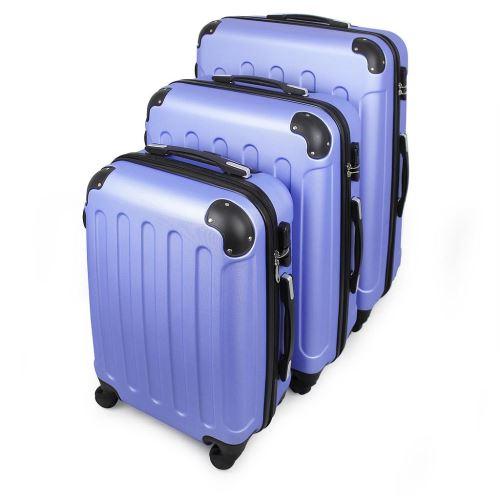 Todeco - Set de Valises, Bagages pour Voyage, 51 61 71 cm, Bleu ciel, ABS, Coins protégés, Matériau: Plastique ABS