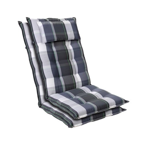 Coussin de chaise de jardin -Blumfeldt Sylt -120 x 50 x9 cm -2 pièces -Carreaux Bleus