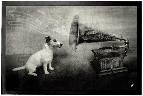 Chiens Paillasson Essuie-Pieds - His Master's Voice, Jack Russell Terrier (40x60 cm)