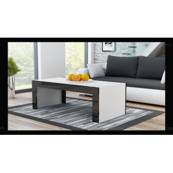 Grande Table Basse Spider Blanc Mat Avec Bordures Noir Laquees