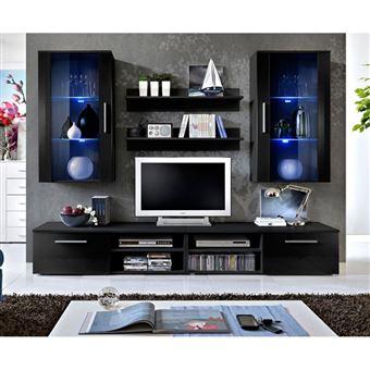 256 Sur Ensemble Meuble Tv Mural Design Galino Vii Black Noir