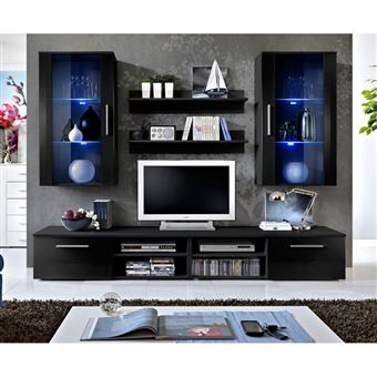 Ensemble Meuble Tv Mural Design Galino Vii Black Noir