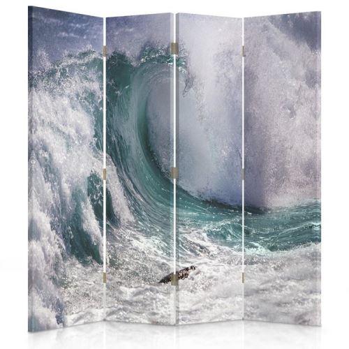 Feeby Paravent rotatif Diviseur de pièce Décoration intérieur 4 pans, Haute vague 145x180 cm
