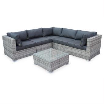 Salon de jardin table en résine tressée nuances de gris 5 places Napoli  coussins gris chiné - Canapé d\'angle et table - Alice\'s Garden