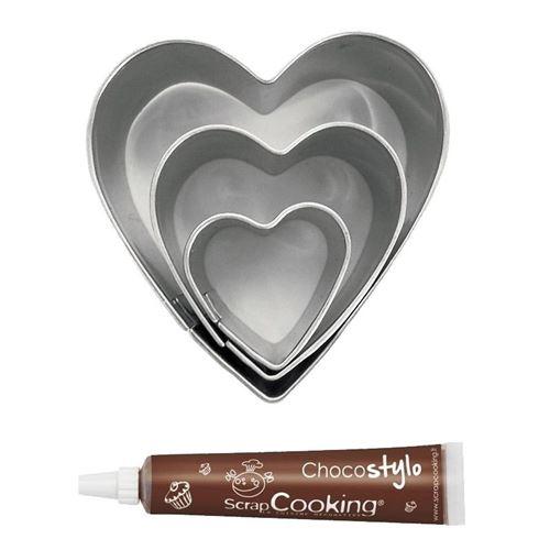 Stylo chocolat + 3 mini emporte-pièces inox Coeurs